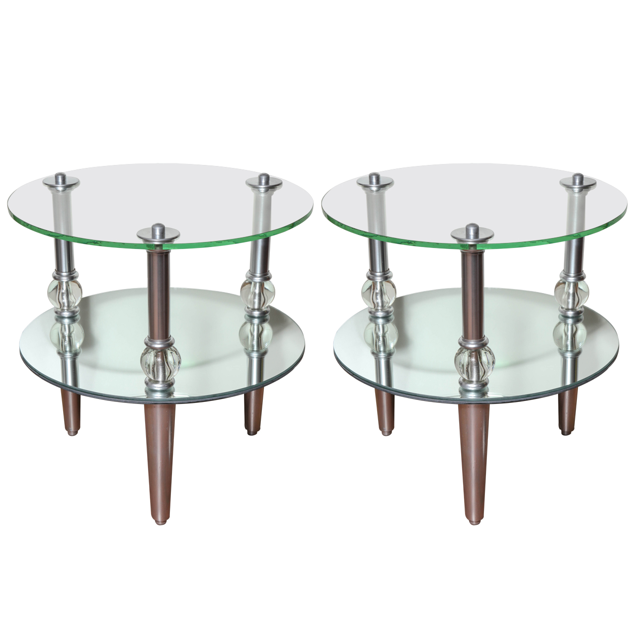 these mid century modern round mirrored and glass end . pair of mid century modern mirrored side tables  prudence designs