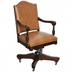 Classic Swivel Desk Leather Armchair with casters c.1912