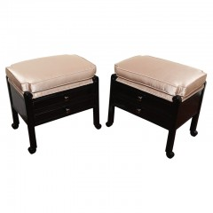 Pair of French Art Deco Stools with silk taupe textile