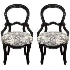Set of 2 Victorian chairs with Etoile textile
