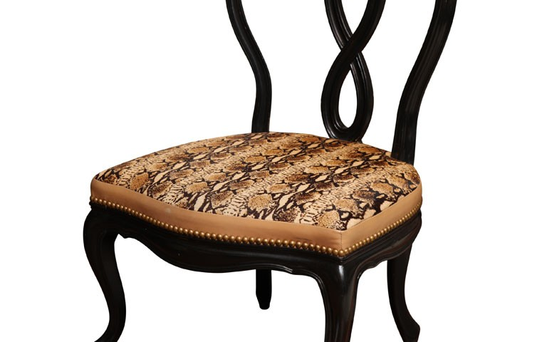 Vanity Victorian Chair in Faux Python Snake Textile