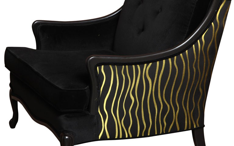 Vintage Hollywood black and chartreuse large armchair