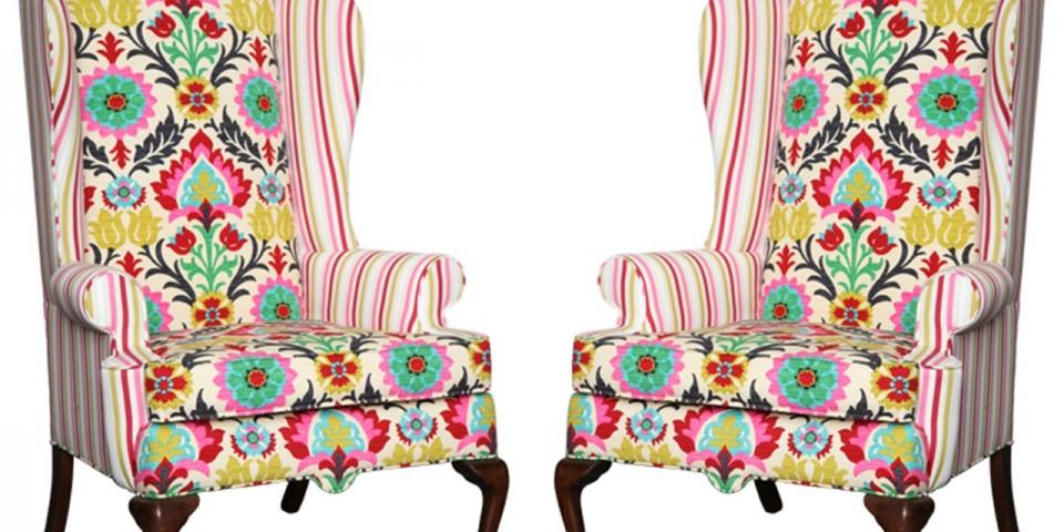 Set of American Drexel Queen Anne Vintage Wingback Chair c. 1960