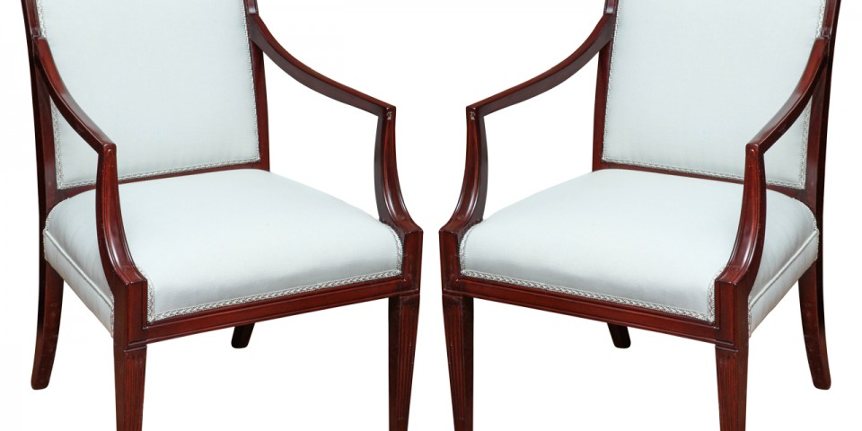 Set Of Two Classical Regency Revival Armchairs